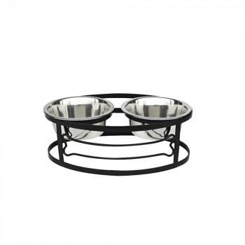 正規輸入品 ペッツストップ(Pets Stop) フードスタンド ボーンダブルダイナー ブラック S RDB3S-BONE水 エサ 皿