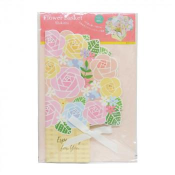 今だけ限定15%OFFクーポン発行中 鉢植えのお花のような色紙です オープニング 大放出セール フラワーバスケット色紙 ピンク 62-186