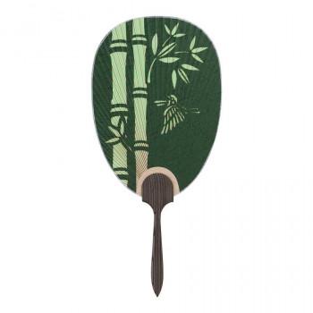 上等 業界No.1 杉柄の都うちわ 都うちわ 杉柄 総彫 長丸型 竹に雀 262 彫