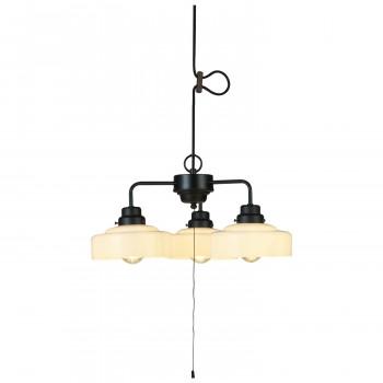 ペンダントライト 浅盛硝子 セード 3灯用CP型BK(LEDスワンバルブ エジスワン付き) GLF-3520BK