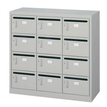 オフィス・店舗向け メールボックス 3列4段 シリンダー錠 ニューグレー COM-MV-12P【送料無料】