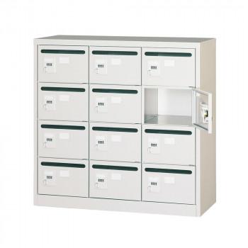 オフィス・店舗向け メールボックス 3列4段 ダイヤル錠 ホワイト COM-MVK-12P【送料無料】