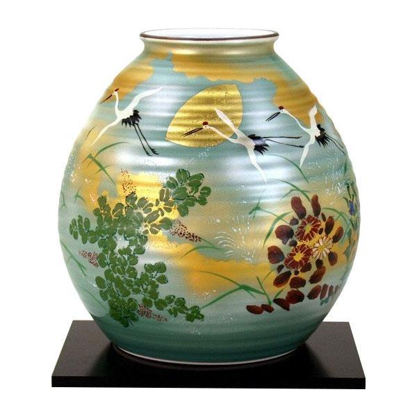 九谷焼 勇峰作 8号花瓶 金箔秋月文 N175-06