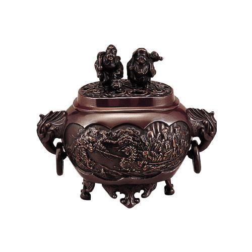 高岡銅器 香炉 小判型七福神小恵比須大黒蓋香炉 130-03