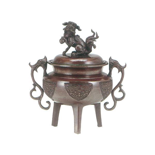 高岡銅器 香炉 大和型獅子蓋 小 徳色 131-02