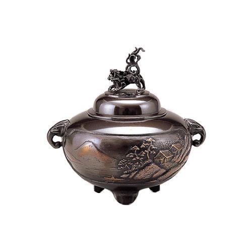 高岡銅器 香炉 鉄鉢型山水 小 古手色 131-07【送料無料】
