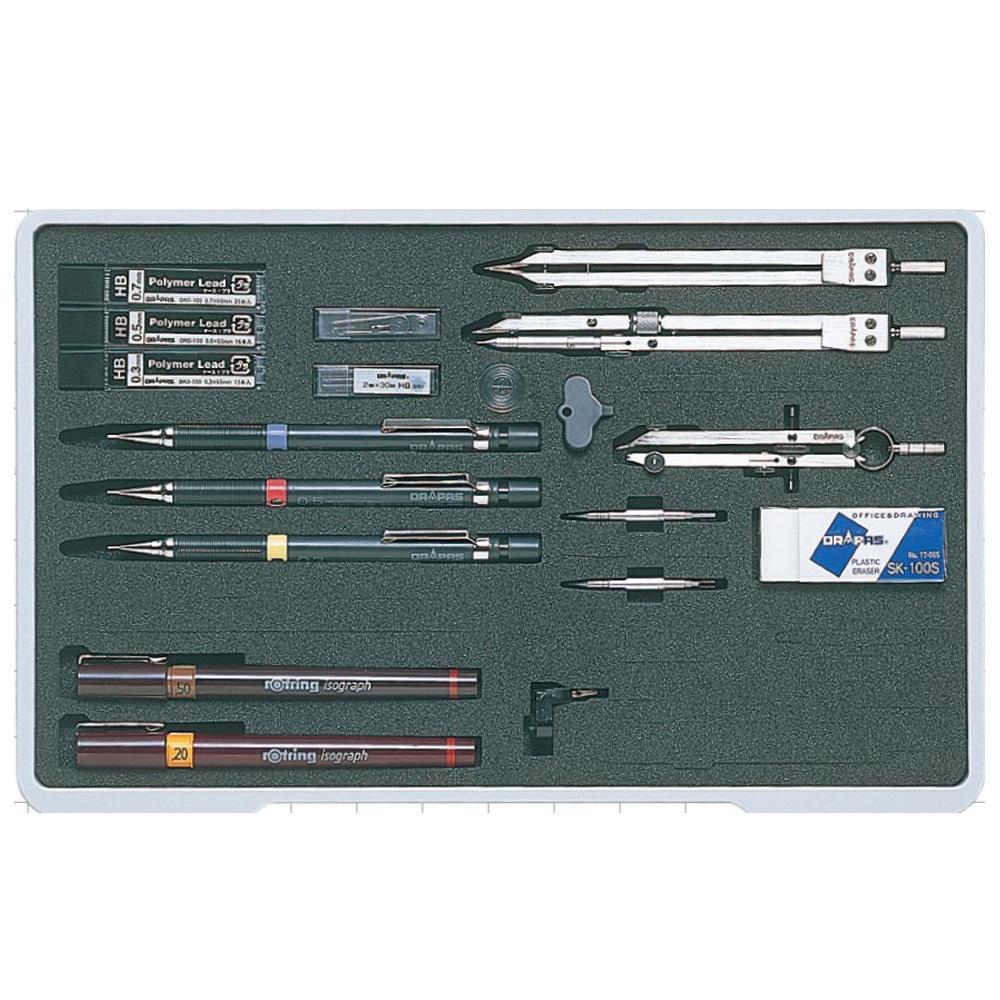ドラパス NO.005 ユニットケース独式製図器セット 11本組23品