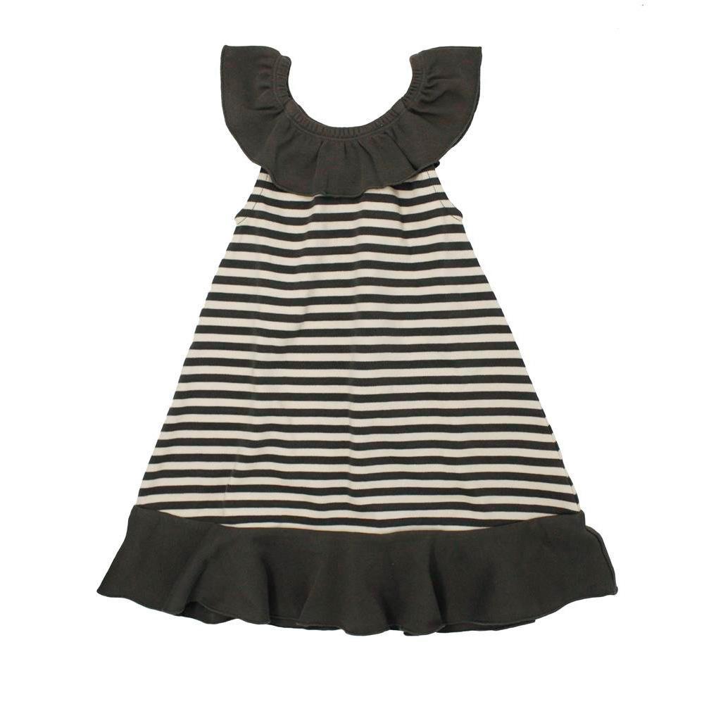L'ovedbaby Stripe-A-Pose Collection ストライプ ラッフル ドレス sap-416 グレー/ベージュ・3歳【送料無料】