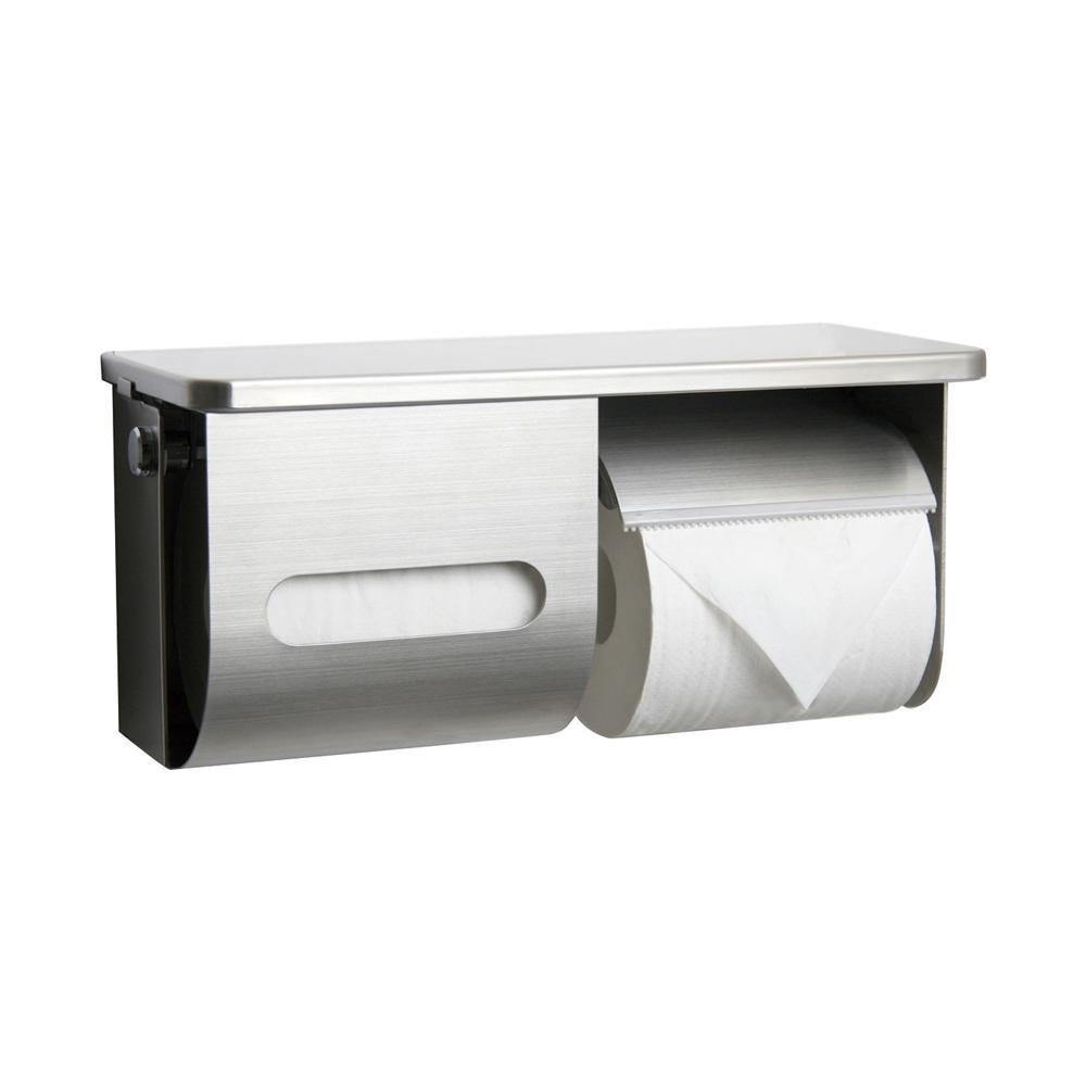 ペーパー盗難防止鍵付棚付横2連ワンハンドペーパーホルダー R3835R-K