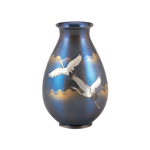 高岡銅器 銅製花瓶 福ダルマ 双鶴 96-06【送料無料】