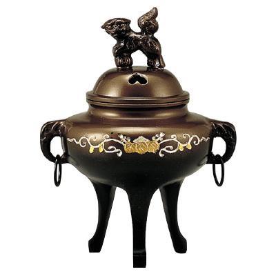 高岡銅器 銅製香炉 カン付象眼香炉 132-02