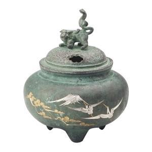 高岡銅器 銅製香炉 鉄鉢型獅子蓋香炉 鶴調金 132-06
