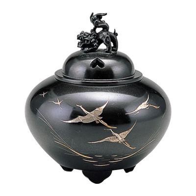 高岡銅器 銅製香炉 能作吉秀作 平丸獅子蓋香炉 鶴 132-07