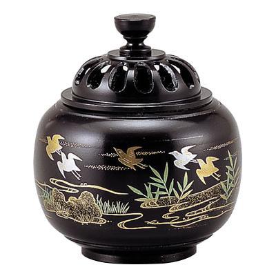 高岡銅器 銅製香炉 玉胴型香炉 波千鳥 蒔絵 135-03