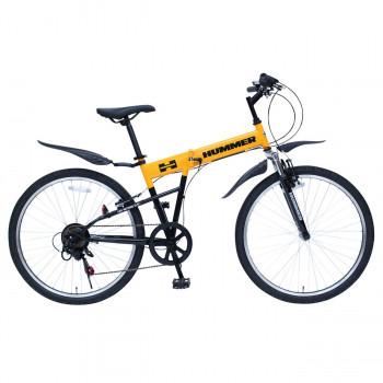 HUMMER 折りたたみ自転車 フロントサスペンション 6段変速 FD-MTB266SE イエロー MG-HM266E
