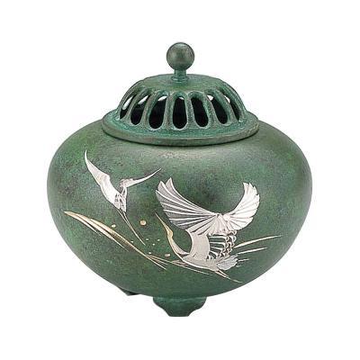 高岡銅器 銅製香炉 平丸香炉 波鶴 132-05日本製 お香 置き物