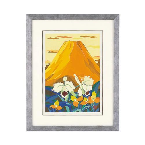 高岡銅器 めでたき富士風水 彫金パネル 金森弘司作 黄富士にカトレヤ 大 143-03アート 壁 和風