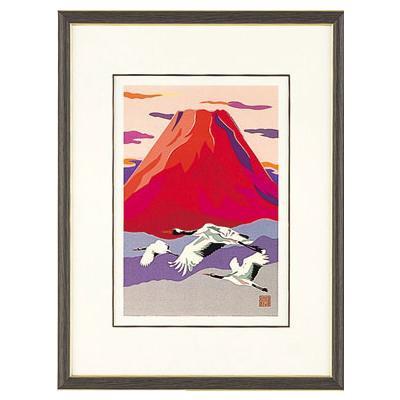 高岡銅器 めでたき富士風水 彫金パネル 金森弘司作 赤富士に飛鶴 小 143-05日本製 アート 美術品