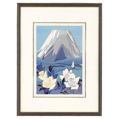 高岡銅器 めでたき富士風水 彫金パネル 金森弘司作 白富士にバラ 小 143-06壁 アート 美術品