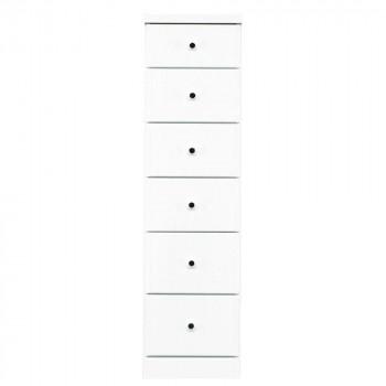 ソピア サイズが豊富なすきま収納チェスト ホワイト色 6段 幅32.5cm