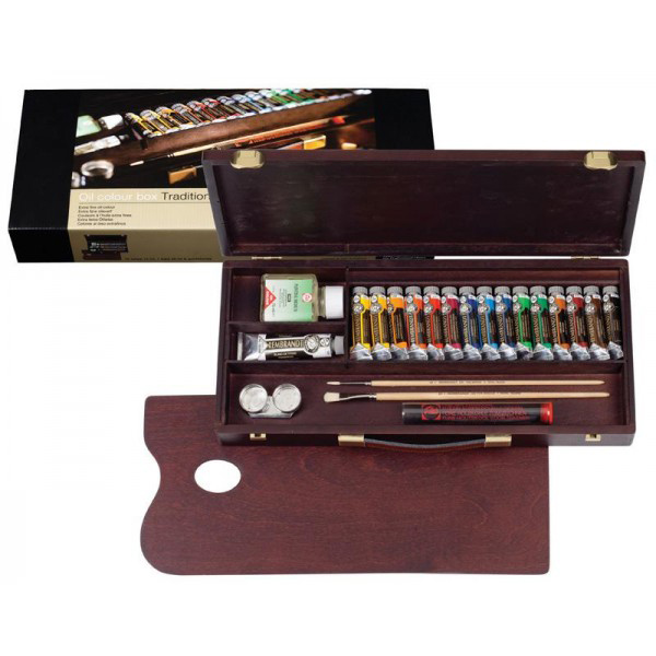 REMBRANDT レンブラント油絵具 ラグジュアリーボックス16色セット T0184-0004 410847絵の具セット スターターセット 油絵具一式
