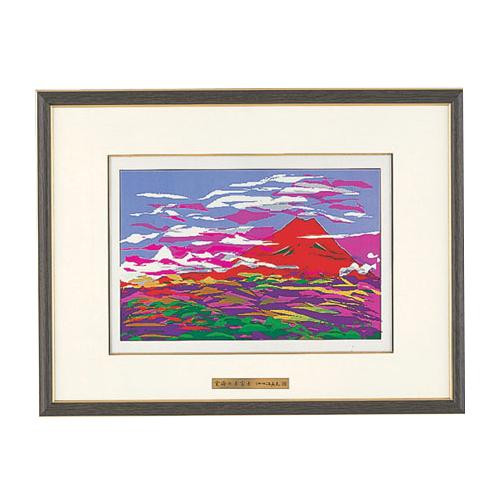 高岡銅器 彫金パネル 池田満寿夫作 雲海の赤富士 141-03
