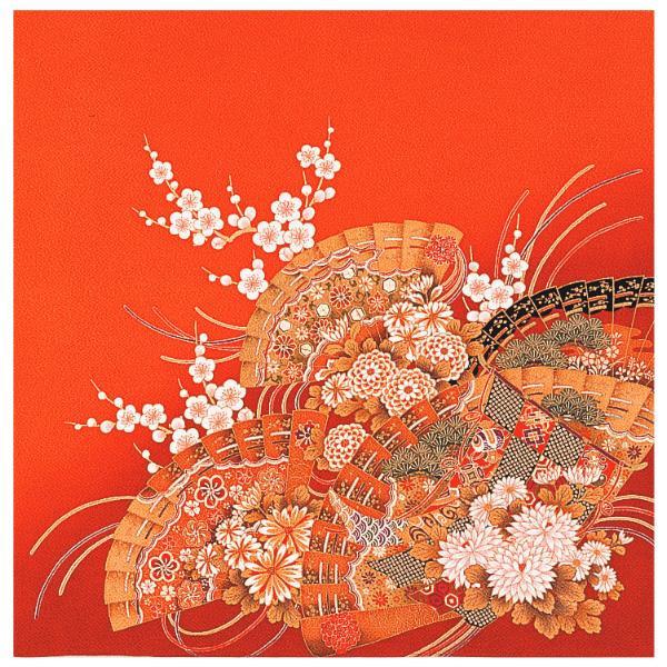 宮井 ふろしき 絹75cm幅 蒔絵桧扇 朱 11-5437-30おしゃれ プレゼント かわいい