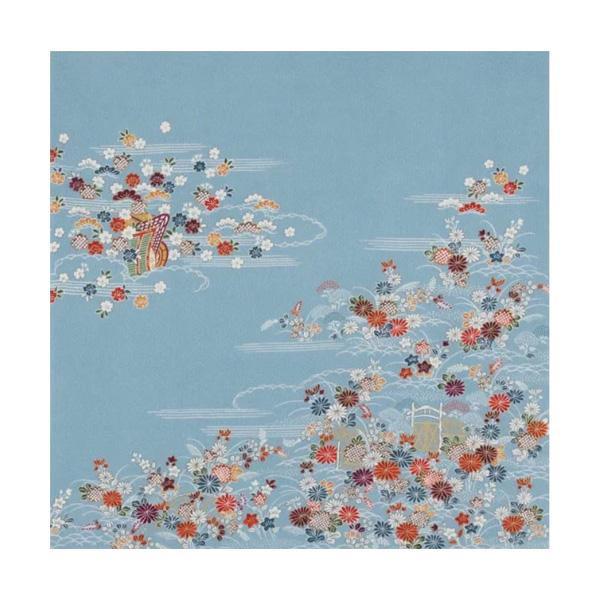 宮井 ふろしき 徳川美術館コレクション 絹68cm幅 中色縮緬地御所解文小袖かわいい ギフト 贈り物