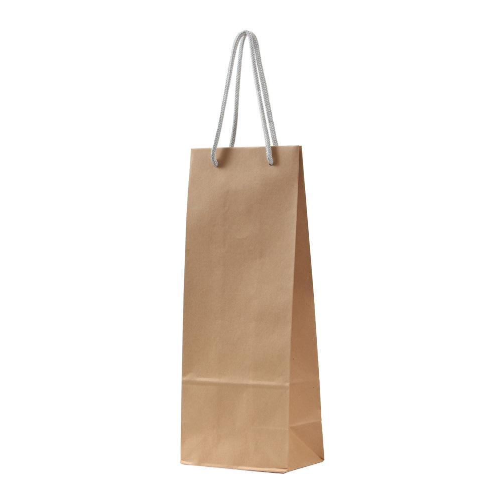 パックタケヤマ 手提袋 HTワインバッグM 茶無地 シルバー 10枚×10包 XZT65202紙袋