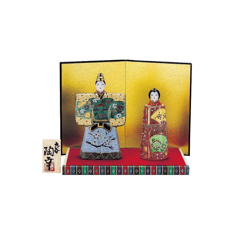 九谷焼 5.5号立雛人形 緑彩 N189-02