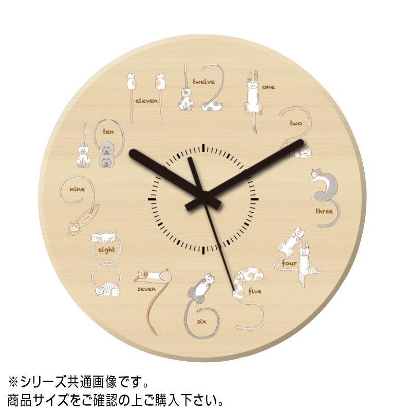 MYCLO(マイクロ) 壁掛け時計 ウッド素材(メープル) 丸型 30cm 猫(ネコ) com338【送料無料】