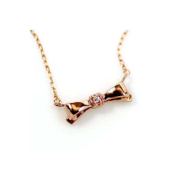 【送料無料】10金ピンクゴールド 天然ダイヤモンド プチ リボン ペンダント ネックレス【代引不可】