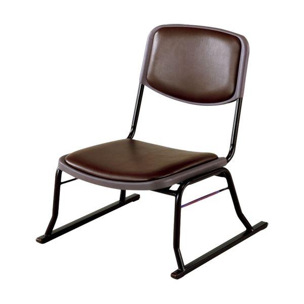 【送料無料】スタッキングチェア/楽座椅子4点セット スチール製 ブラウン 〔法事/集会/会食/来客時〕