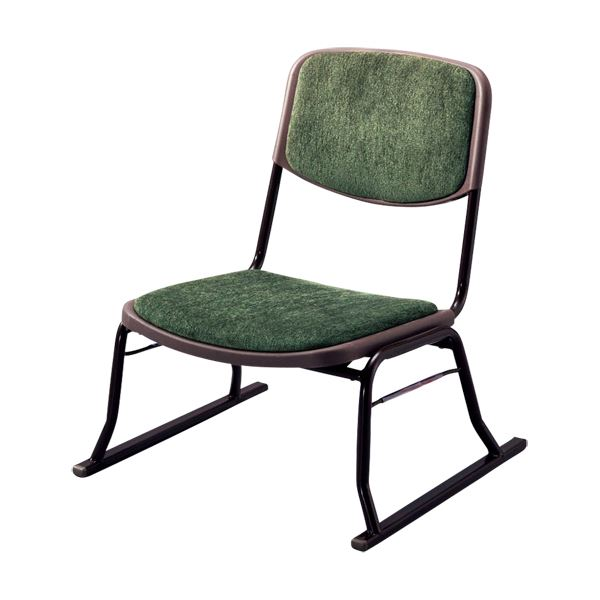 【送料無料】スタッキングチェア/楽座椅子4点セット スチール製 グリーン(緑) 〔法事/集会/会食/来客時〕