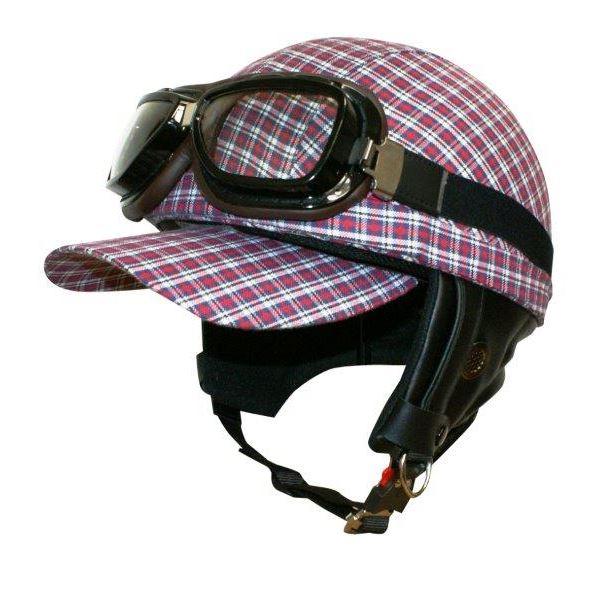 ダムトラックス(DAMMTRAX) ヘルメット ゴーグル付き スクールチェック レッド レディースフリー (57cm~58cm)
