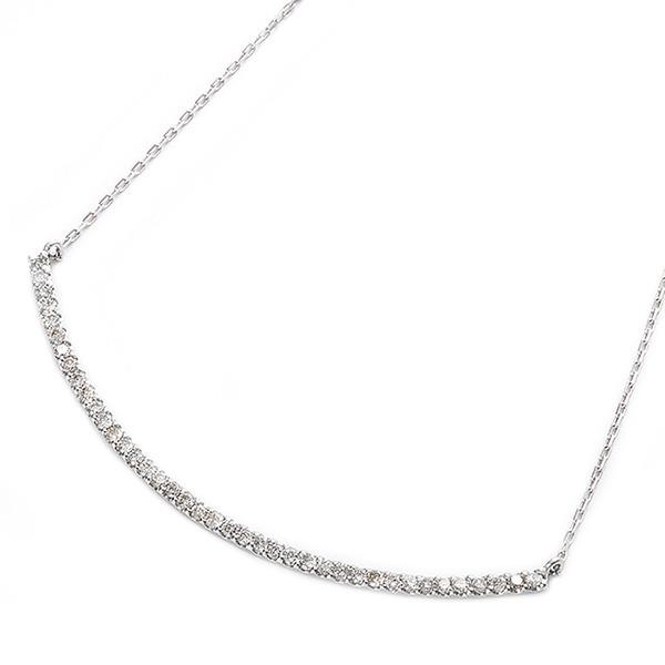 【送料無料】ダイヤモンド ネックレス K10 ホワイトゴールド 0.2ct 40石 スマイリー ダイヤネックレス ペンダント