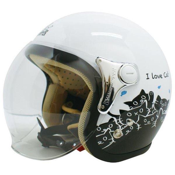 【送料無料】ダムトラックス(DAMMTRAX) ジェットヘルメット CARINA P.WHITE-CAT レディースフリー(57~58cm)