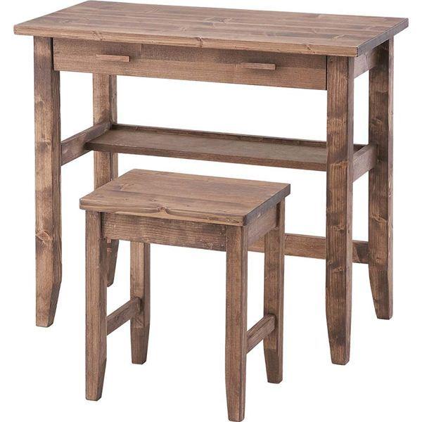 【送料無料】デスク&チェア2点セット 木製(天然木) 引き出し/棚付き 木目調 CFS-843