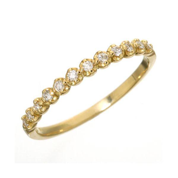 【送料無料】K18 ダイヤハーフエタニティリング イエローゴールド 15号 指輪