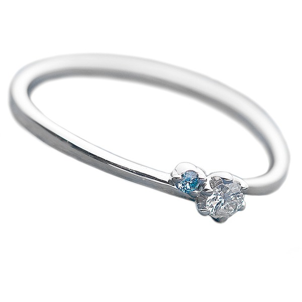 【送料無料】ダイヤモンド リング ダイヤ&アイスブルーダイヤ 合計0.06ct 12号 プラチナ Pt950 指輪 ダイヤリング 鑑別カード付き