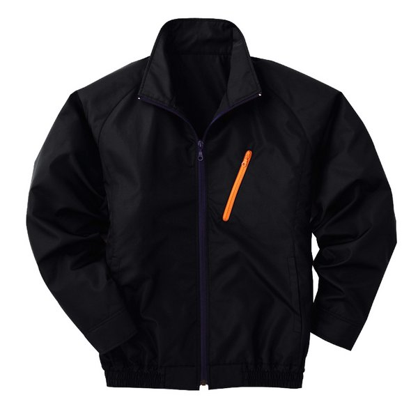 【送料無料】空調服 ポリエステル製長袖ブルゾン P-500BN 【カラー:ブラック サイズ:XL】 電池ボックスセット