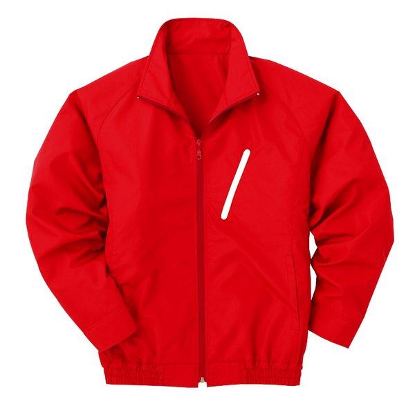 【送料無料】空調服 ポリエステル製長袖ブルゾン P-500BN 【カラー:レッド(赤) サイズ:XL】 電池ボックスセット