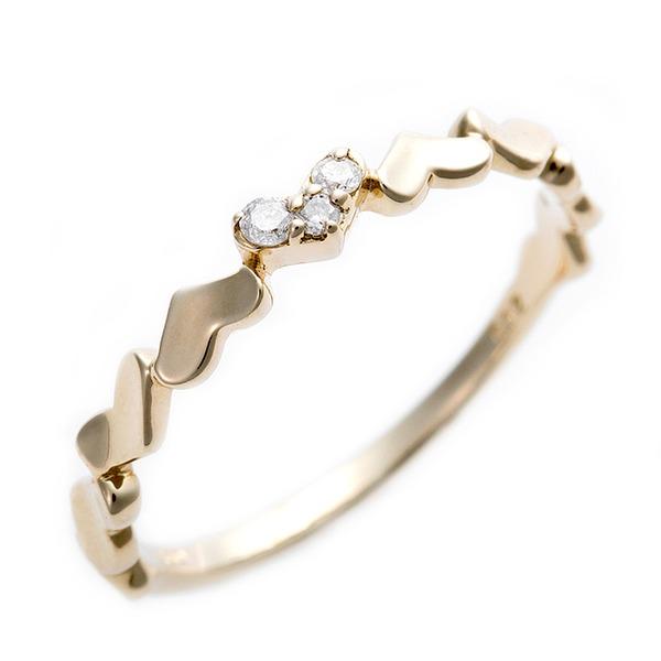 【送料無料】ダイヤモンド ピンキーリング K10 イエローゴールド ダイヤ0.03ct ハートモチーフ 1.5号 指輪