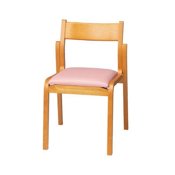 【送料無料】ジョインテックス 会議椅子スタッキングチェア 【肘なしタイプ】 木製 座面:ビニールレザー MF-C4N PK ピンク 【完成品】