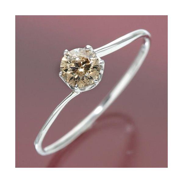【送料無料】K18ホワイトゴールド 0.3ctシャンパンカラーダイヤリング 指輪 19号