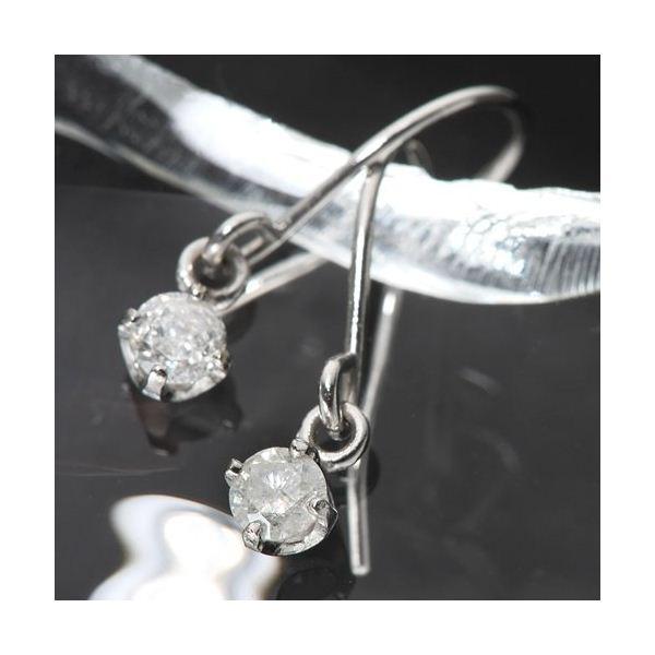 【送料無料】K18ホワイトゴールド 0.1ctダイヤフックピアス ダイヤモンドピアス