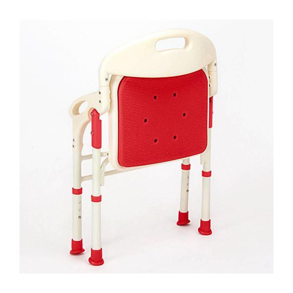 【送料無料】シャワーベンチ 【1: 折りたたみ背/肘付き】 座面高調節可 やわらかマット付き レッド(赤)