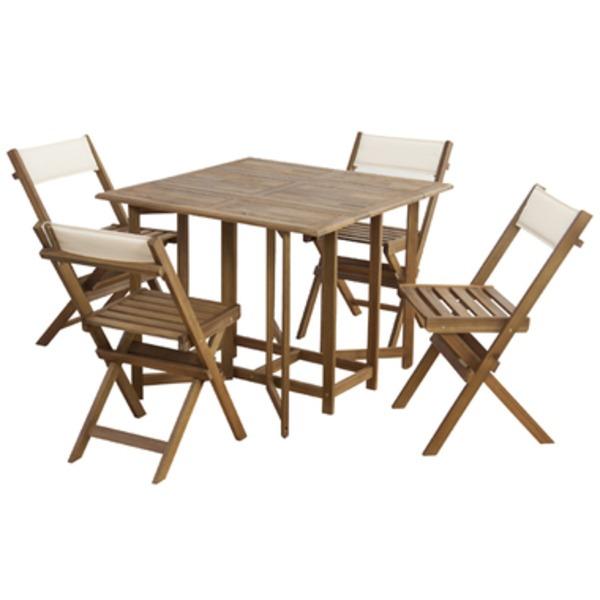 【送料無料】収納式ダイニングテーブル&チェア5点セット【クリコ】 室内・屋外兼用 NX-930