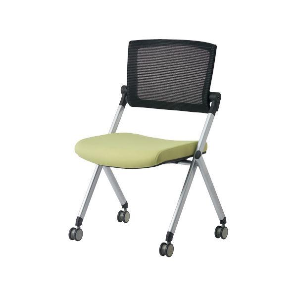 【送料無料】ジョインテックス 会議椅子(スタッキングチェア/ミーティングチェア) 肘なし 背メッシュ キャスター付き GK-90SM グリーン 【完成品】