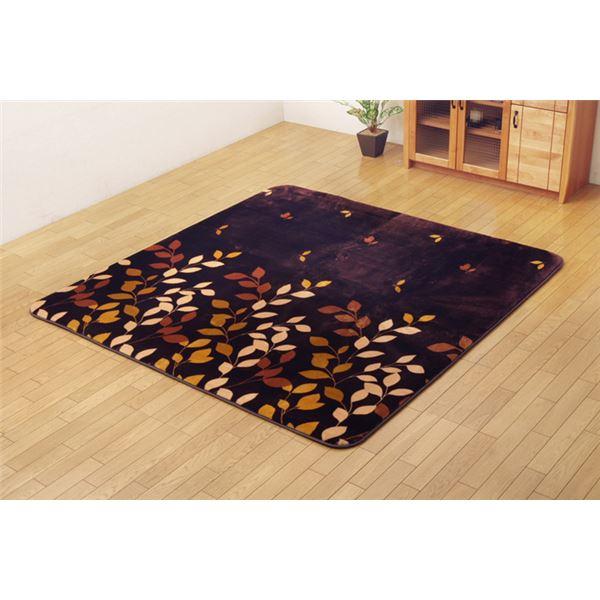 【送料無料】リーフ柄 ラグマット 絨毯 ボリュームタイプ 長方形大 『DXハーバル』 ブラウン 200×300cm